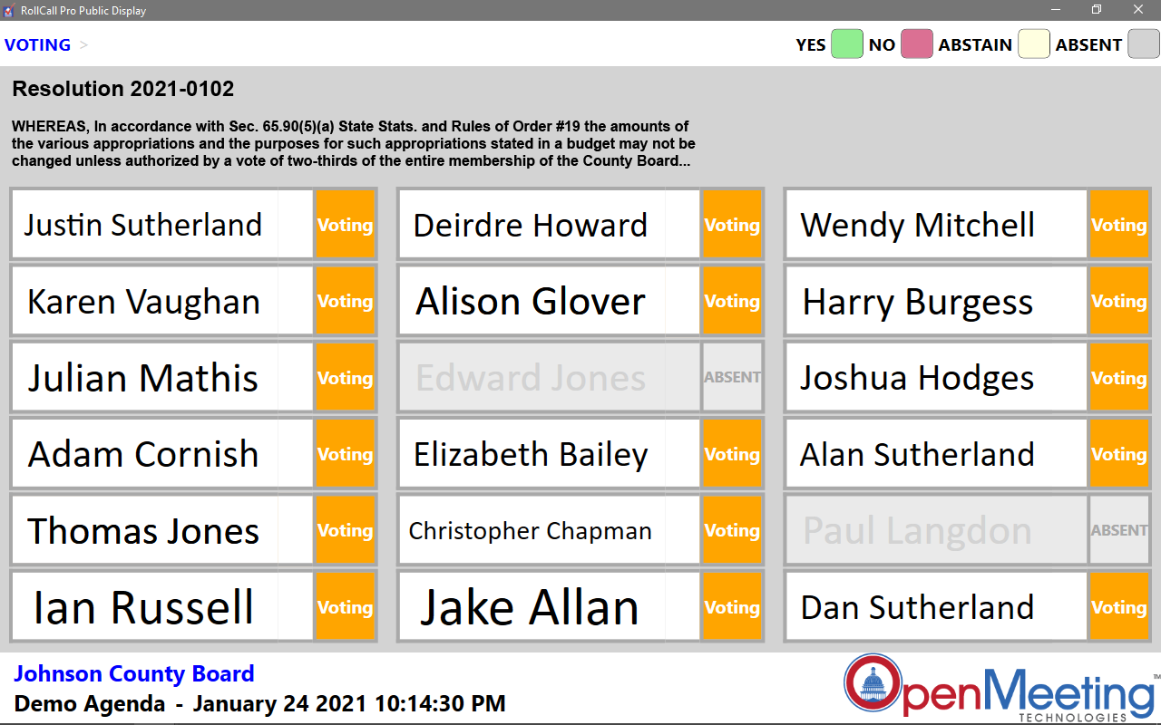 OpenMeeting RCP Public Display Meeting Vote Called